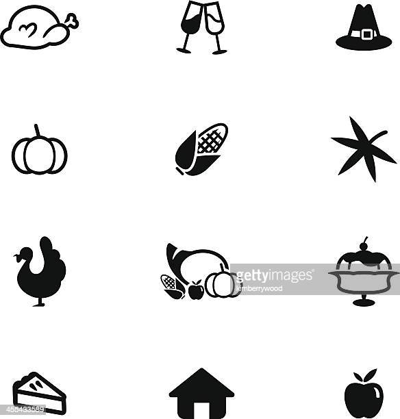 black and white minimalist thanksgiving icon set - chicken pie stock illustrations, clip art, cartoons, & icons