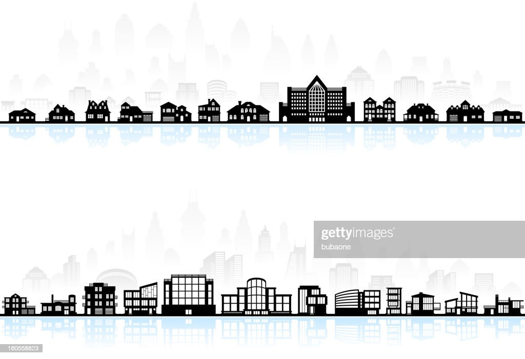 Black and white modern town skyline panoramic with blue shadow