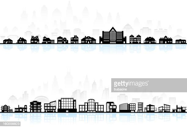 black and white modern town skyline panoramic with blue shadow - town stock illustrations