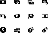 Black and white money icon set