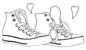 Black and white monochrome sneakers shoes hearts love isolated vector