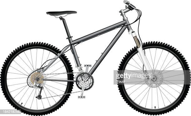 Black and white mountain bike against white background