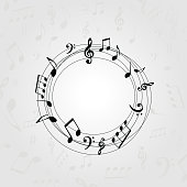 Black and white music banner with music notes