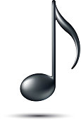 Black and white Music note icon with a white background
