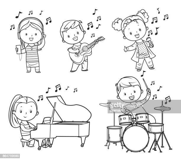 black and white musicians children - drum kit stock illustrations