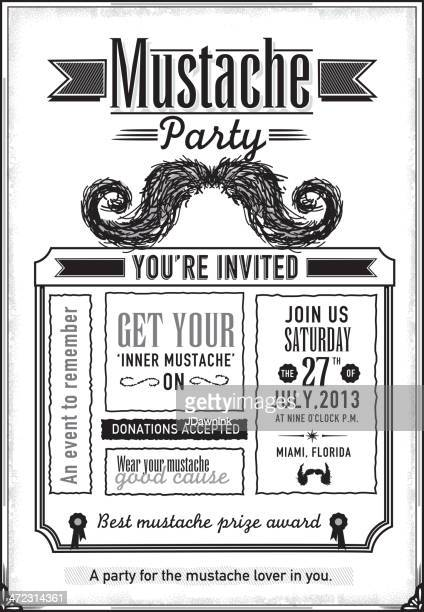 Black and white Mustache Party celebration invitation design template