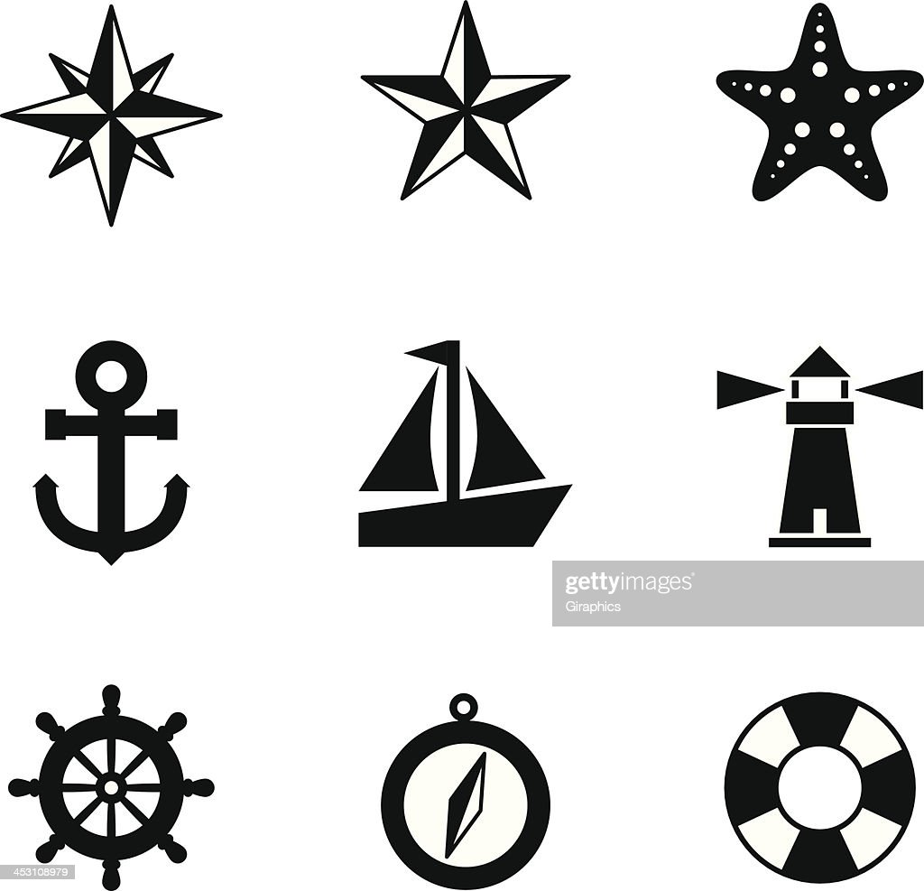 Black and white nautical icons
