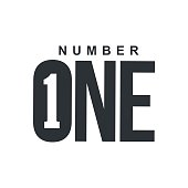 Black and white number one diagonal logo template