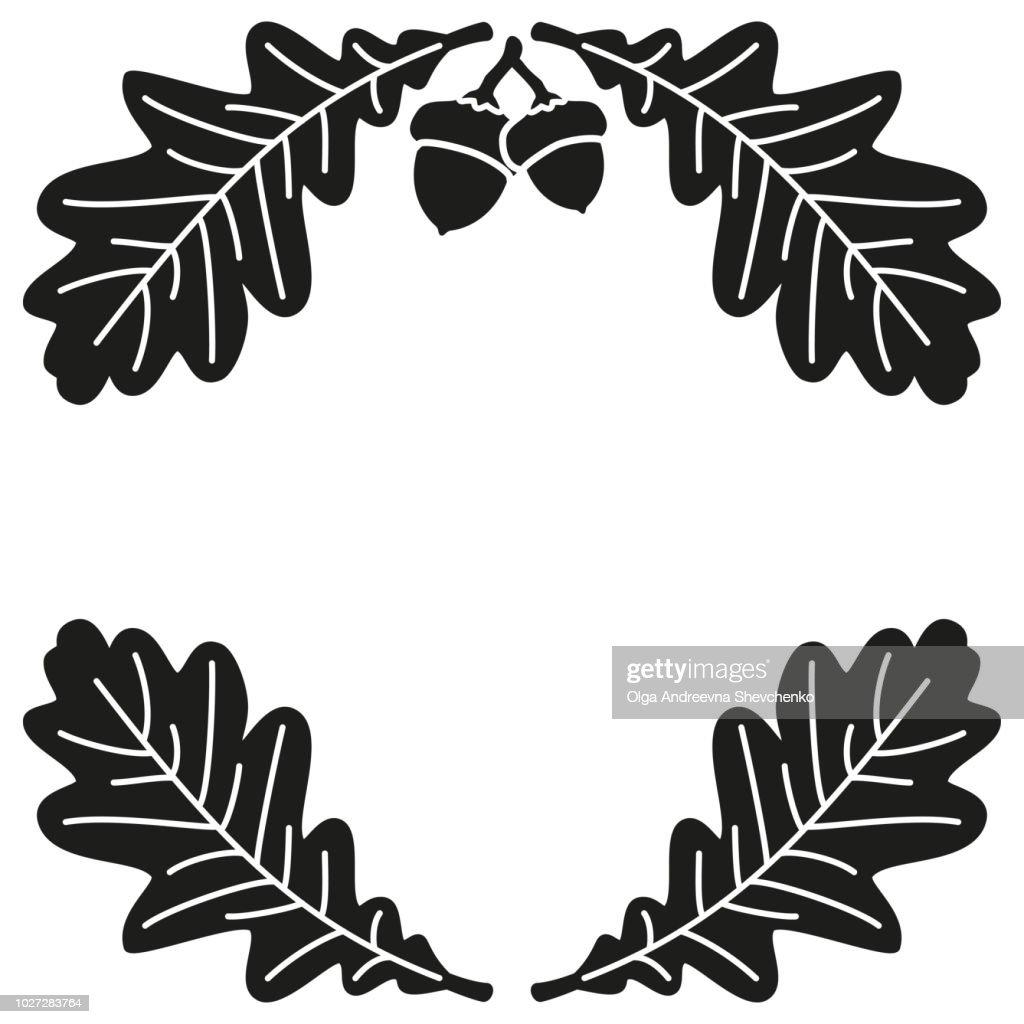 Black and white oak branch background silhouette