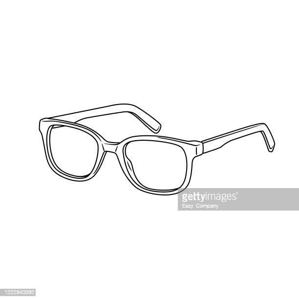 black and white of eyeglasses in a white background for assembly, or create teaching material for mothers who do homeschool and teachers who find pictures for teaching materials such as flashcards or children's books. - eyeglasses stock illustrations
