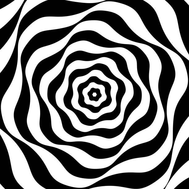 black and white op art - swirl stock illustrations