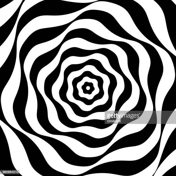 illustrazioni stock, clip art, cartoni animati e icone di tendenza di black and white op art - ricciolo