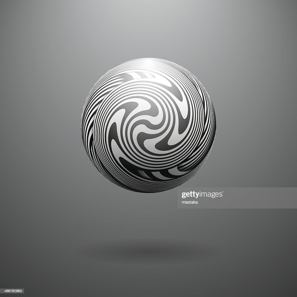 Black and White Opt Art Sphere
