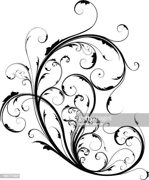 Black and white ornate scrollwork