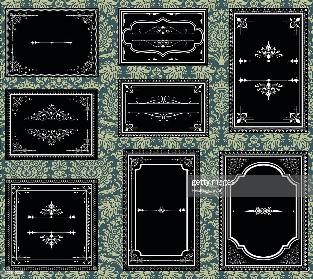Black and white ornate vintage frames