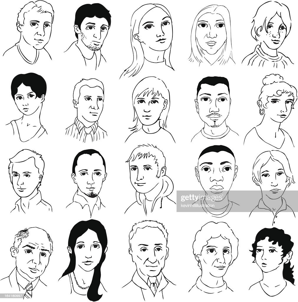 Black and white outline drawings of many different faces