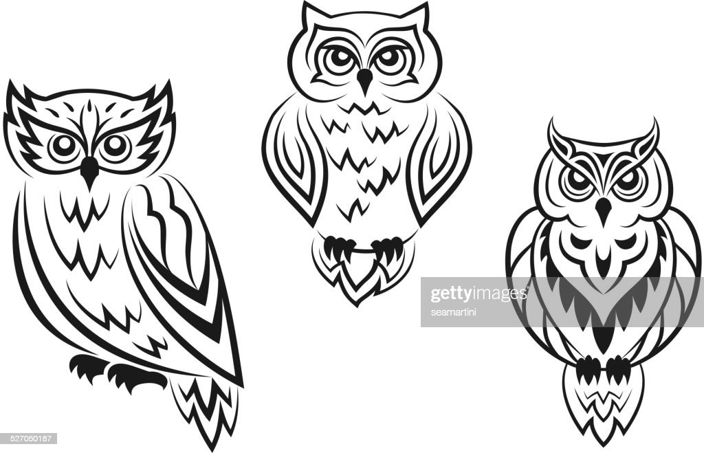 Black And White Owl Bird Tatoos Vectorkunst Getty Images