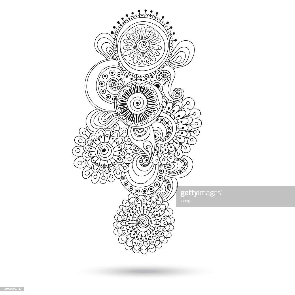 Black and white paisley-style henna/mehndi design