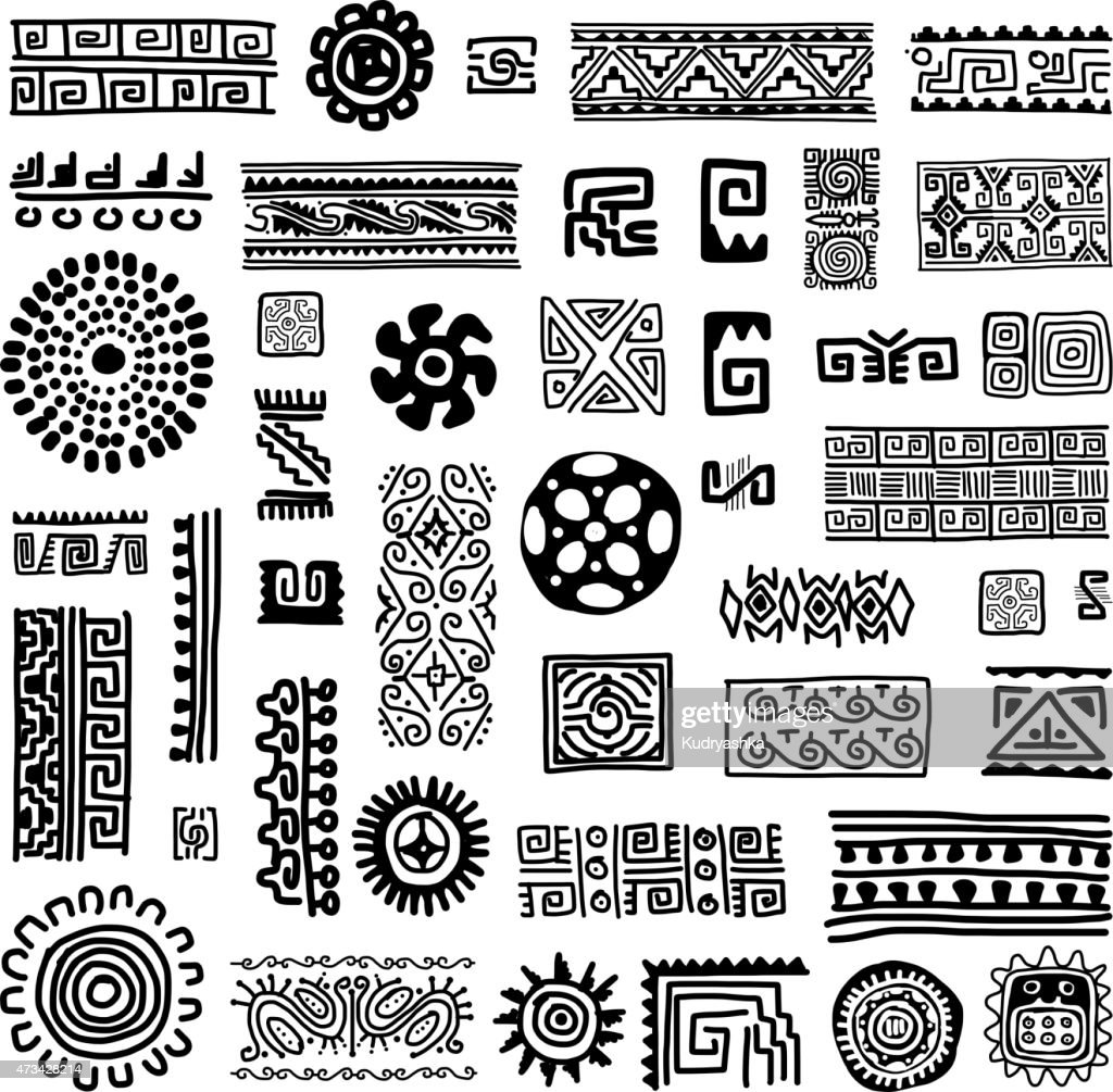 Black and white patterns of traditional ornament