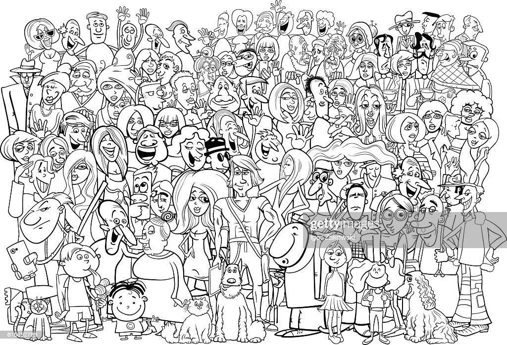 black and white people crowd