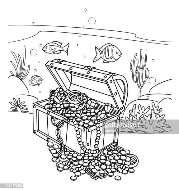 海の下の海賊の宝物、黒と白 - 水に飛び込む点のイラスト素材/クリップアート素材/マンガ素材/アイコン素材