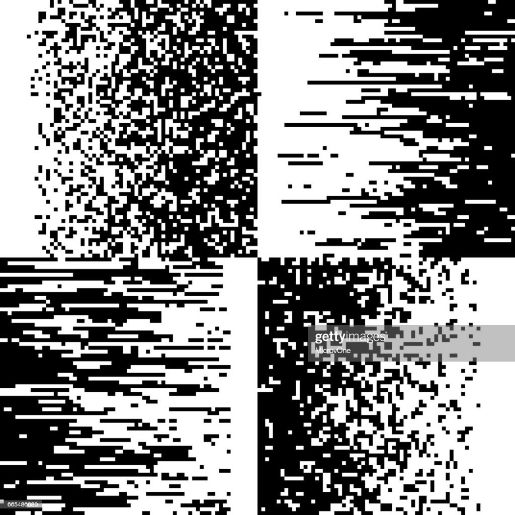 Black and white pixelation, pixel gradient mosaic, pixelated vector backgrounds