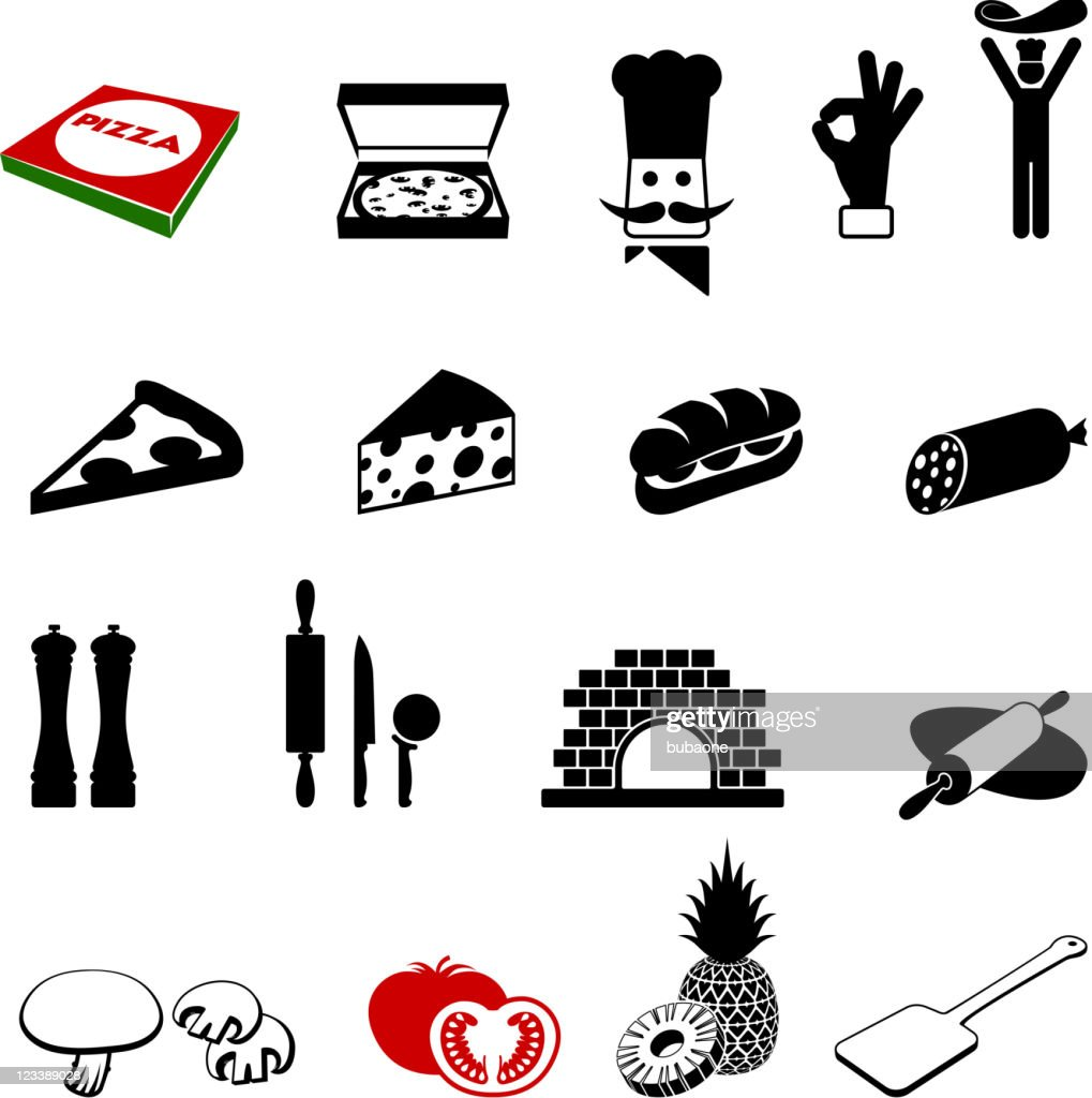 Black and White Pizza Iconography Images