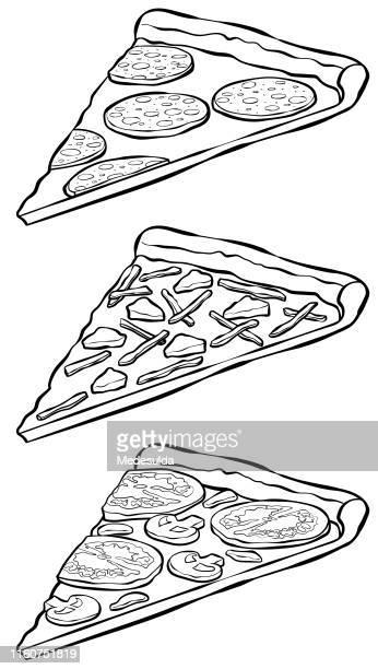 ilustrações de stock, clip art, desenhos animados e ícones de black and white pizza slices in sketchy style - pizzaria