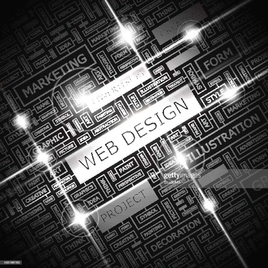 Black and white poster of web design related imagery