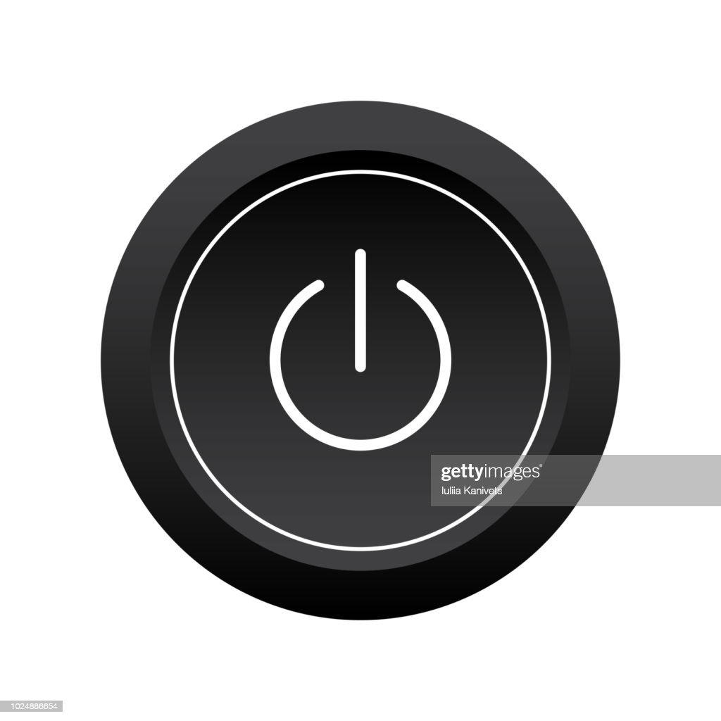 Black and white power button icon. Turn on/off button. Vector illustration