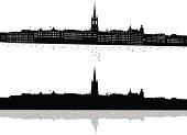 Black and white print of Stockholm