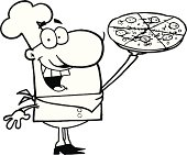 Black and White Proud Chef Holding A Pizza