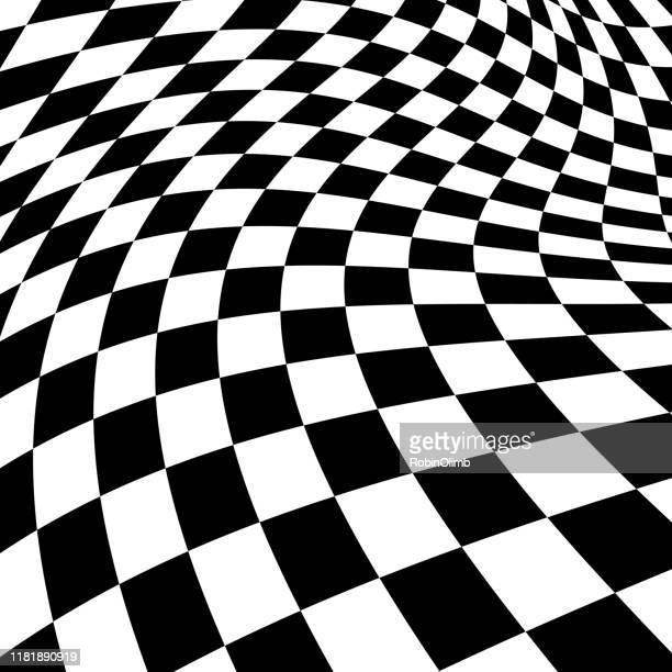 black and white psychedelic checked background - checked pattern stock illustrations