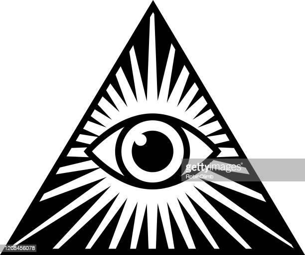 black and white pyramid eye pyramid icon - magic eye stock illustrations