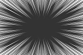 Black and white radial lines comics style backround. Manga action, speed abstract. Vector illustration