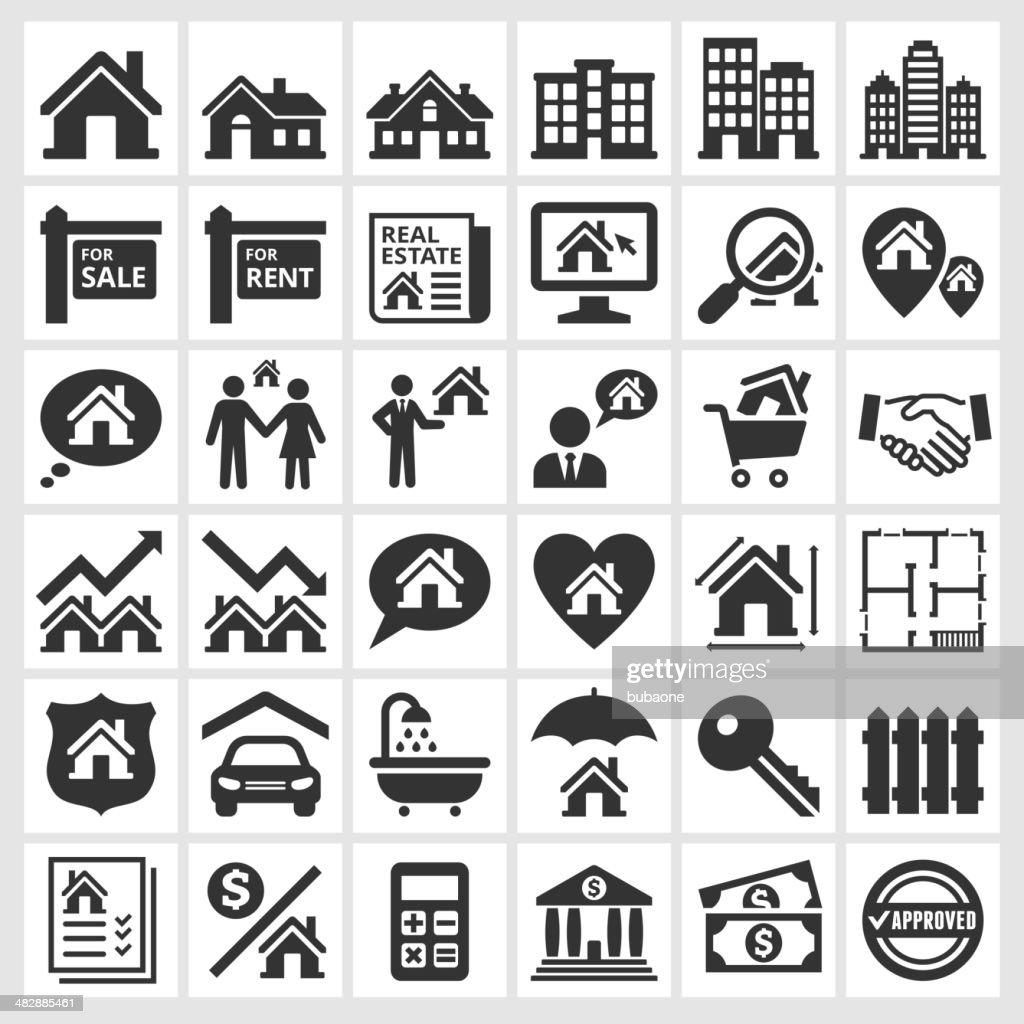 Blanco y negro de inmobiliaria iconos de transacción : Ilustración de stock