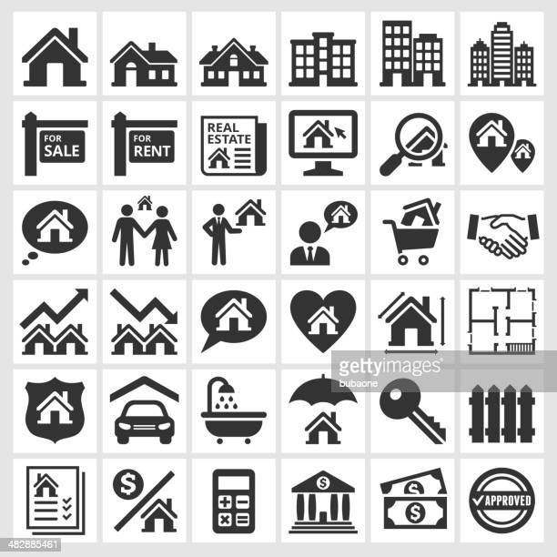 Black and white real estate transaction icons