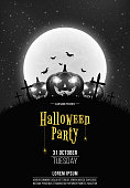 Black and white Retro background for Halloween party. Cartoon pumpkins in the cemetery. Full moon and starry sky. Template for your project. Your text. Vector illustration