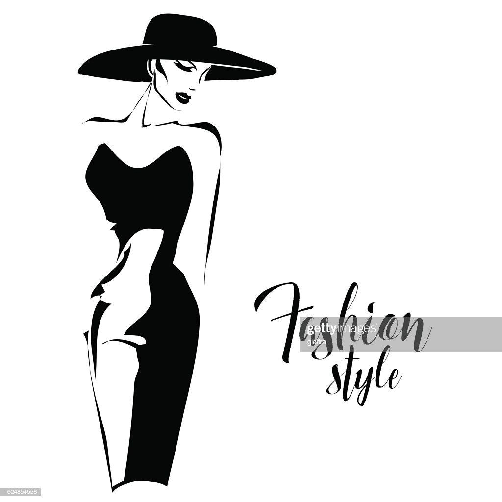 Black and white retro fashion model in sketch style. Vector
