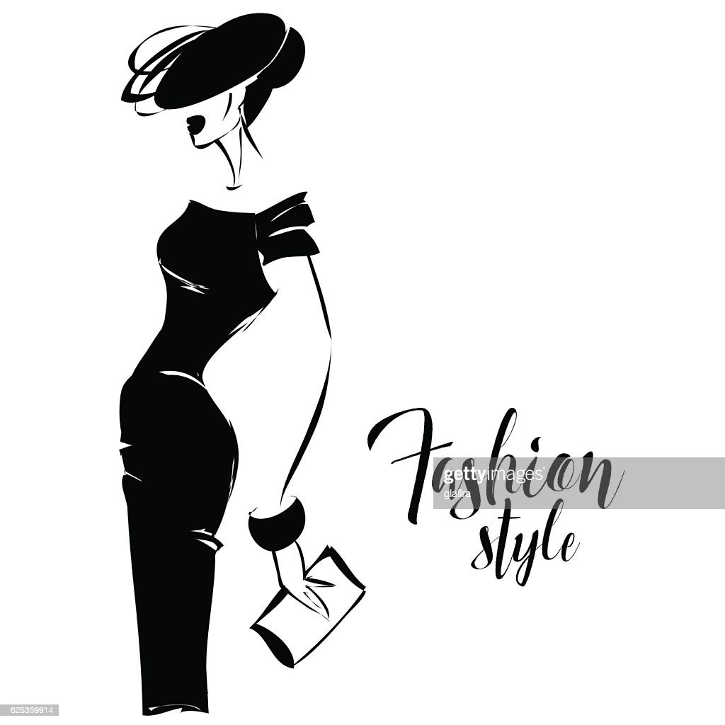 Black and white retro fashion model in sketch style vector