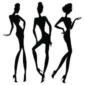 Black and white retro fashion model silhouette. Hand drawn vector illustration