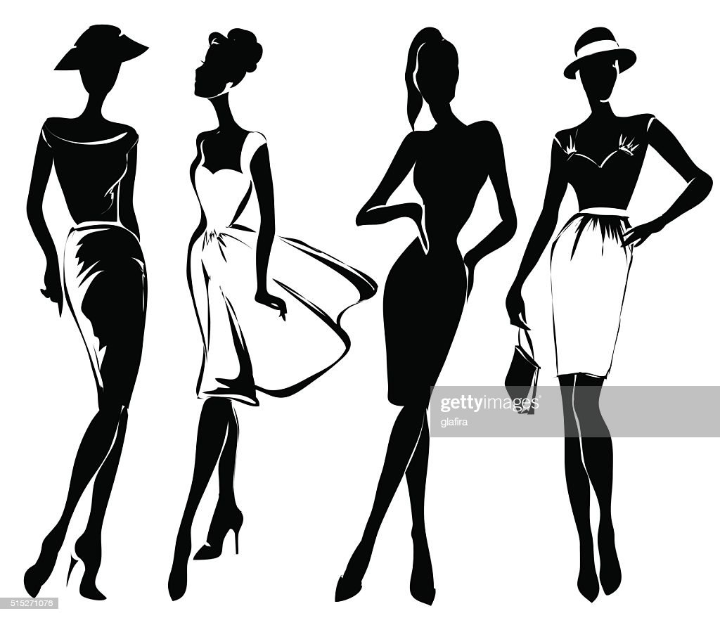 Black and white retro fashion models in sketch style