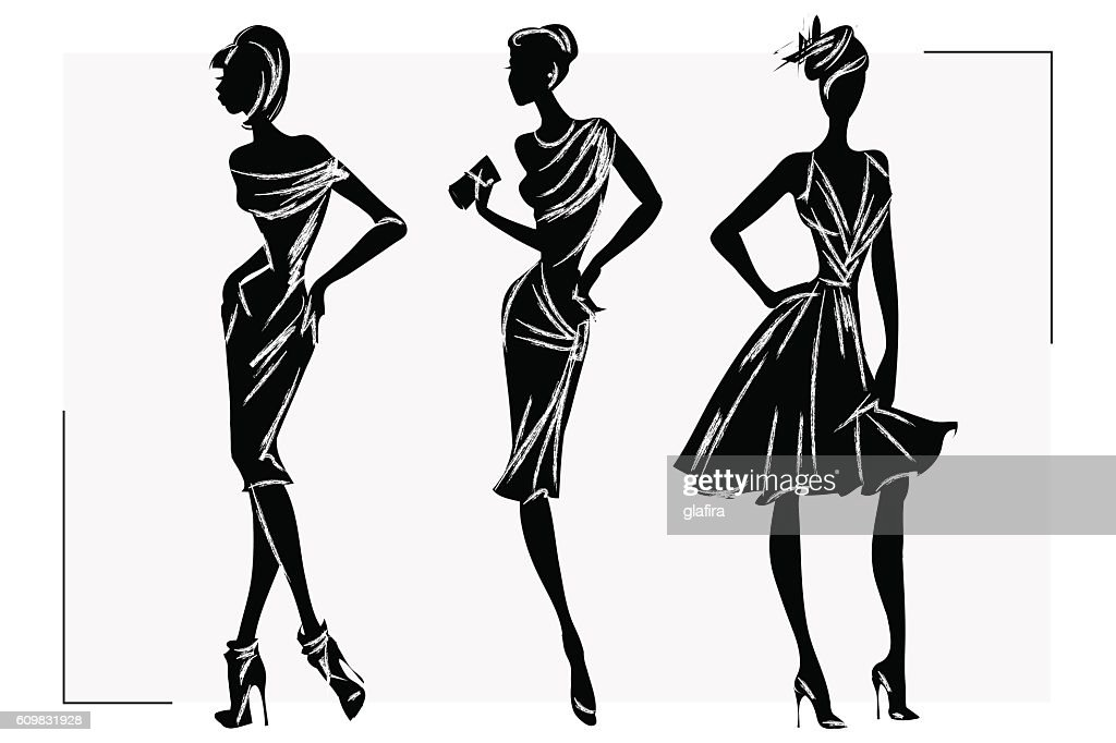 Black and white retro fashion woman model. Hand drawn vector