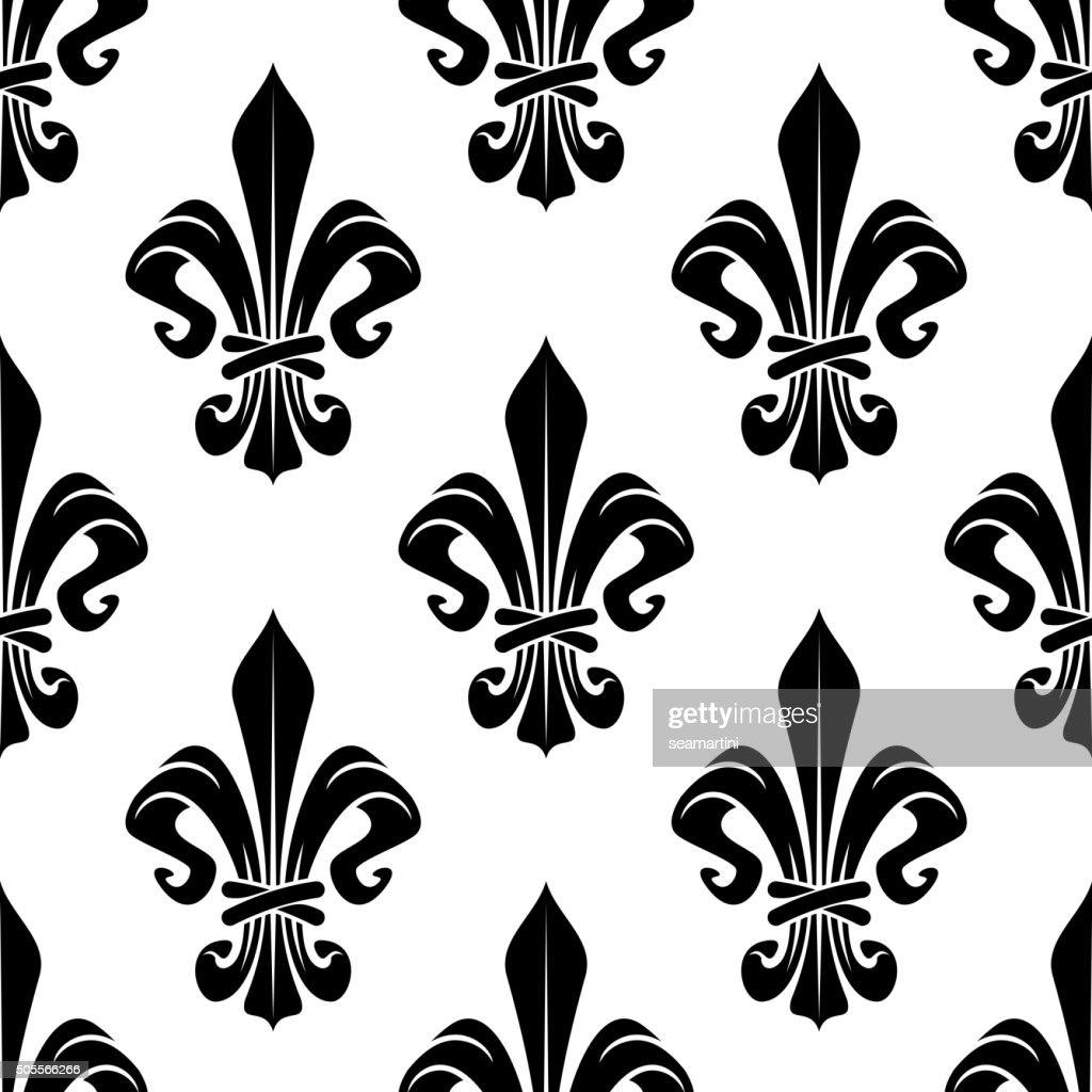 Black and white royal fleur-de-lis pattern
