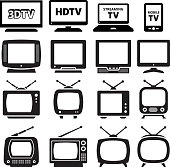 TV black and white royalty free vector icon set