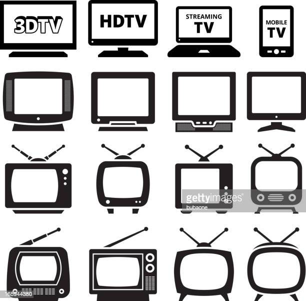tv black and white royalty free vector icon set - television industry stock illustrations