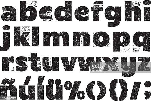 black and white rubber stamp alphabet - image technique stock illustrations