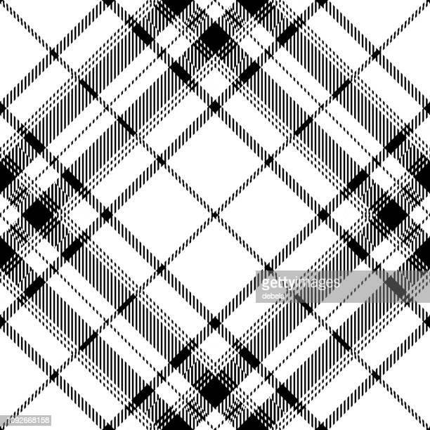 Black And White Scottish Tartan Plaid Textile Pattern
