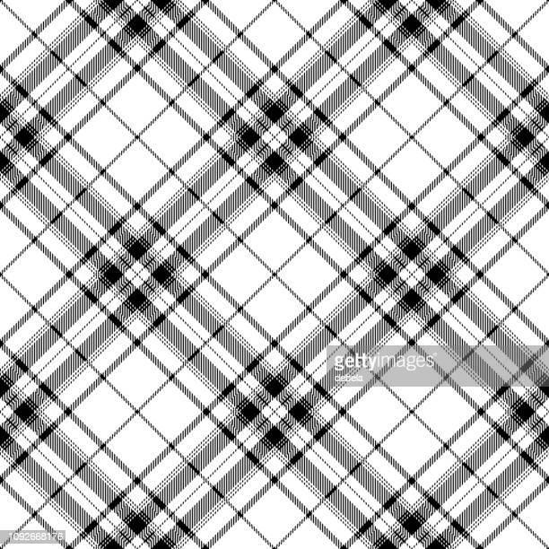 Blanco y negro Tartan escocés textil Plaid patrón