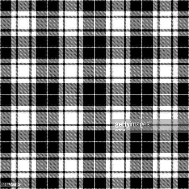 black and white scottish tartan plaid textile pattern - tartan stock illustrations